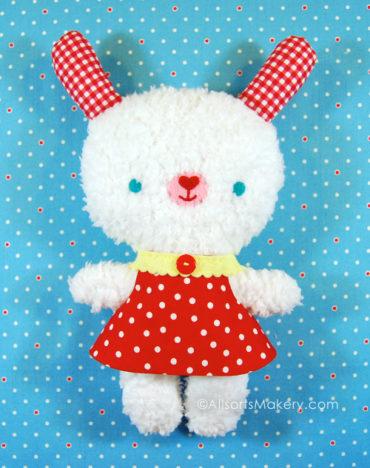 Fluffy Bunny Plushie Pattern by AllSorts