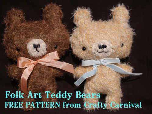 folk art bear plushie pattern