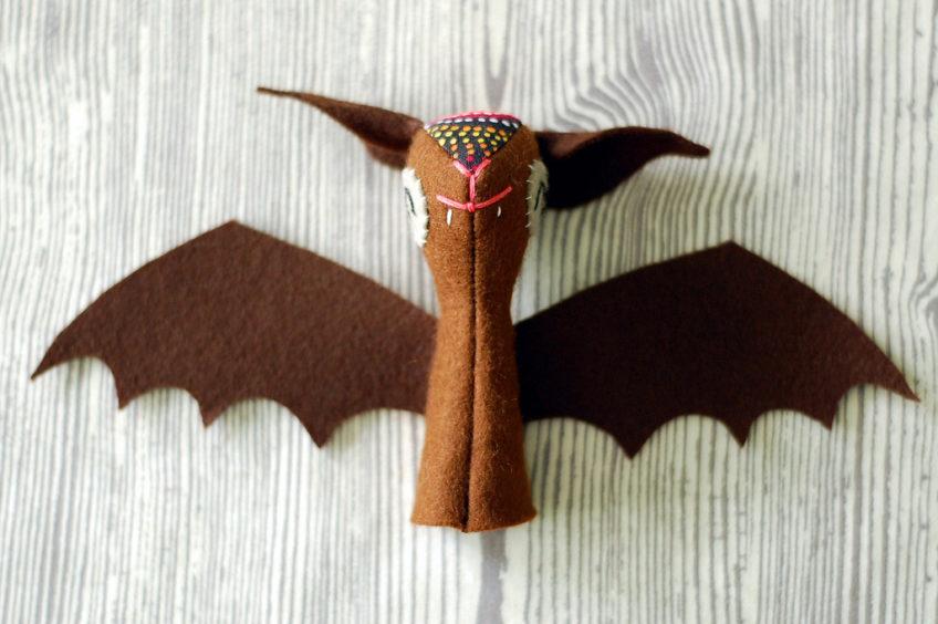 Bat Finger Puppet Plushie Pattern by Soto Softies