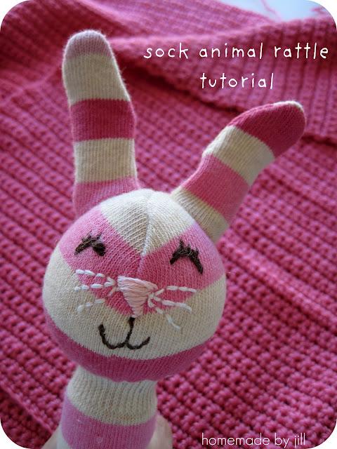 sock animal rattle tutorial hbj