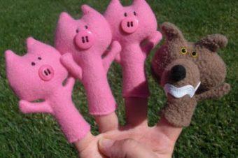 3 Little Pigs Finger Puppet Plushie Pattern