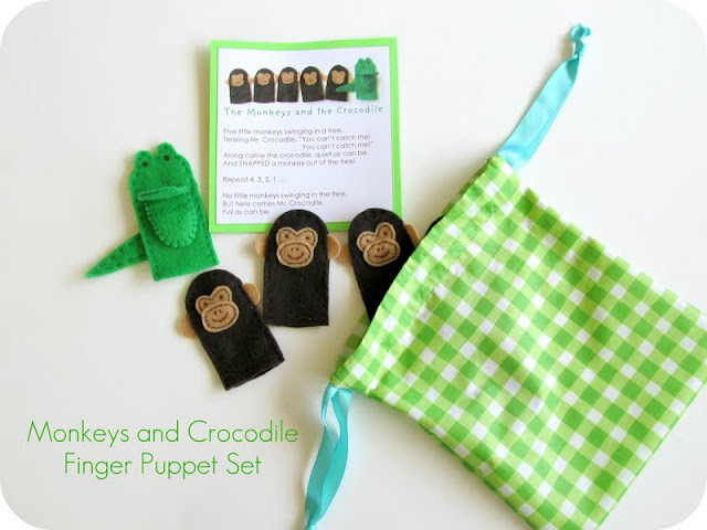Monkeys and Crocodile Finger puppet Stuffie Set by Homemade by Jill