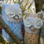 Felted Wool Sweater Owl Plushie by Mossy