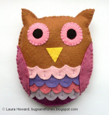 Wool Felt Owl Plushie Pattern by Bugs and Fishes