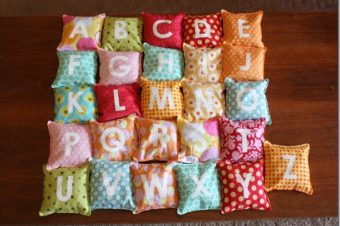 Alphabet Bean Bags Tutorial by The Crafty Cupboard