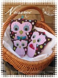 3 owl stuffed animals to sew