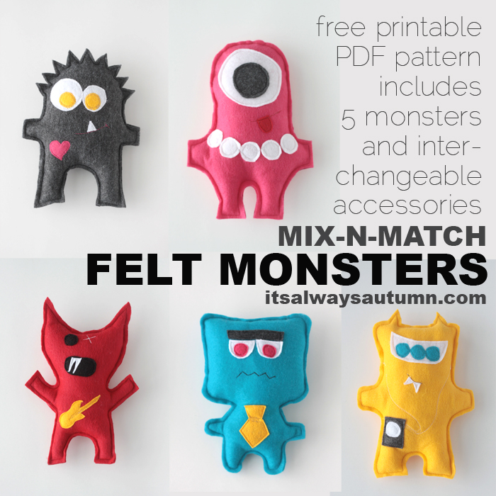 Stuffed Monsters Mix and Match Designs {Plushie Patterns}
