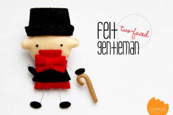 Gentlemen Felt Plush Doll.  He has a cane!