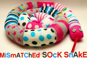 sock snake tutorial- mismatched socks into a slithering snake!