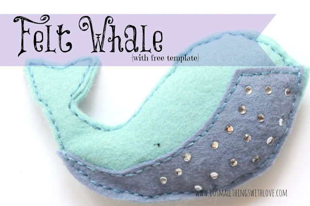 felt whale plushie tutorial with free templates