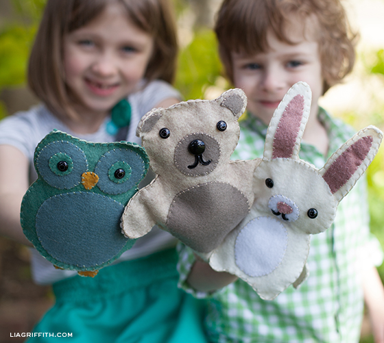 Woodland Friends Puppets- Owl, Bunny, Bear Felt Tutorials