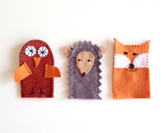 Forest Finger Puppet Tutorial- owl, fox, hedgehog