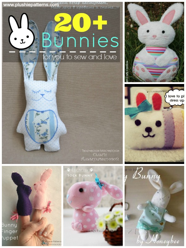 Over 20 Bunny Plushies to sew and love | #easter #bunny |plushiepatterns
