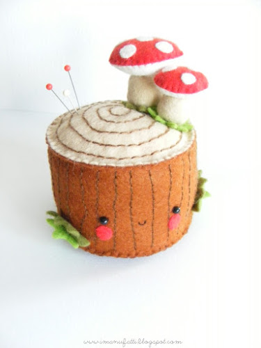 felt tree stump plushie pincushion tutorial #felt #freepattern
