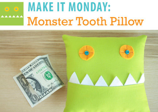 The Monster Tooth Pillow is ready to collect that cash after your kiddo has lost a tooth! Perfect for other occasions too- or give as a little surprise. Simple to sew, this Monster features some spiky teeth and great button eyes.