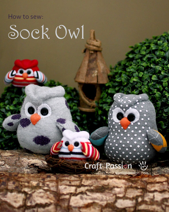 How to sew a sock owl tutorial and pattern #freepattern #owl #plushie