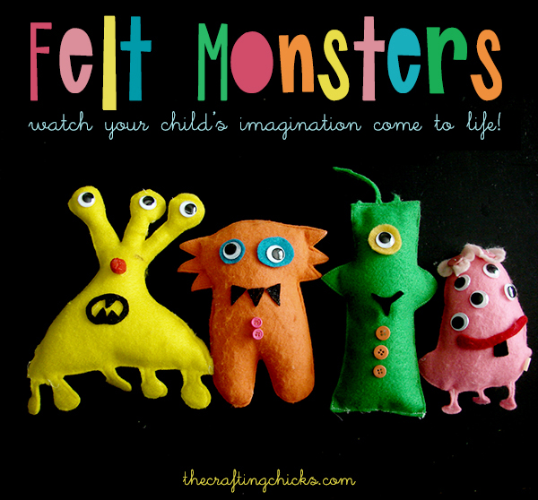 Felt monsters you can sew using your kids imagination | Felt Monsters to Make From Your Own Drawings