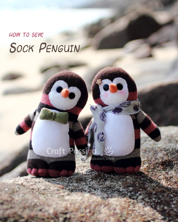 How to sew a sock penguin tutorial