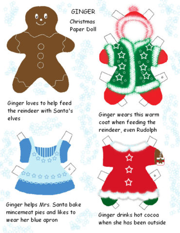 Christmas gingerbread paper dolls