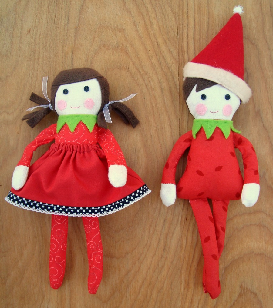 elf on the shelf boy and girl- free pattern to sew!