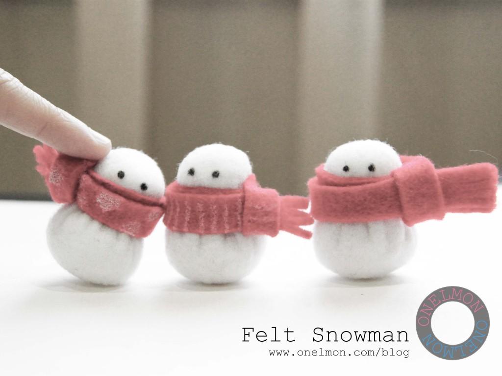 mini felt snowmen tutorial