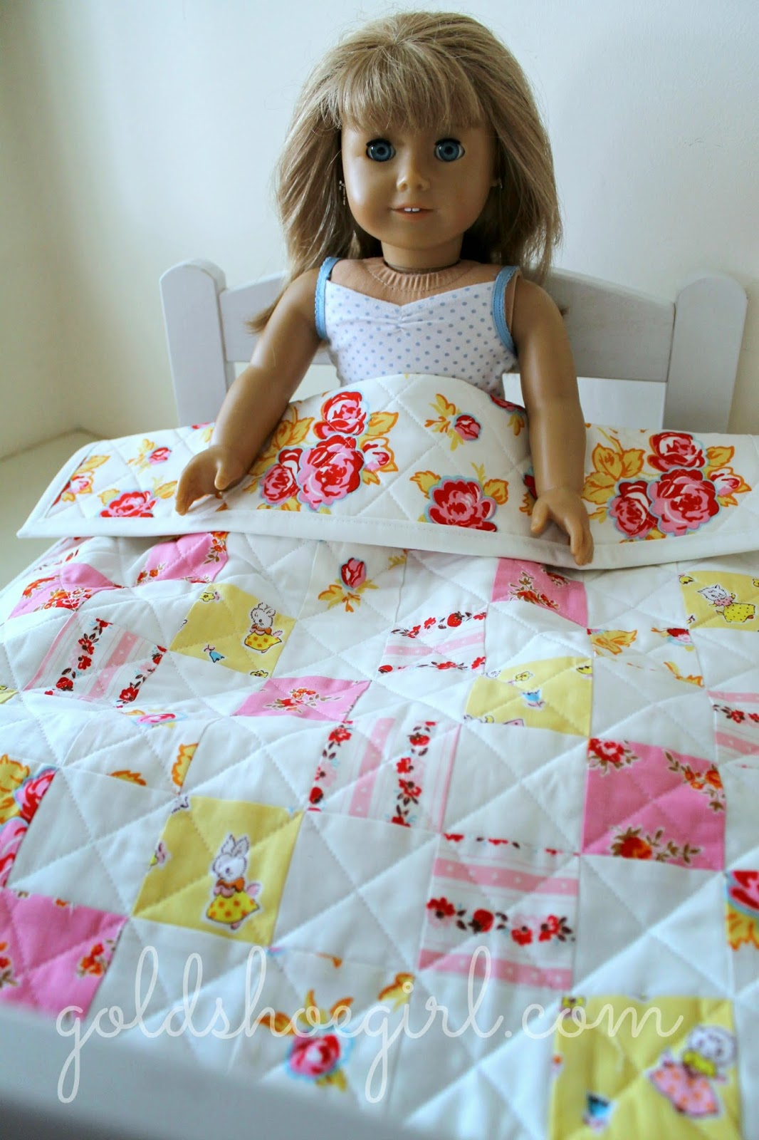 goldshoegirl milk sugar flower doll quilt on bed
