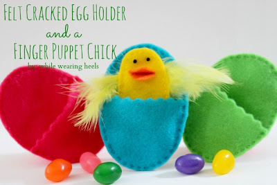 felt cracked egg holder and finger puppet chick super cute and simple! Learn how to hand sew with this!