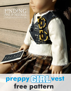 preppy girl vest free pattern for American Doll