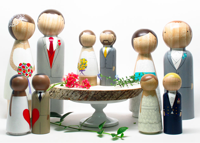 paint your own bride and groom peg dolls!