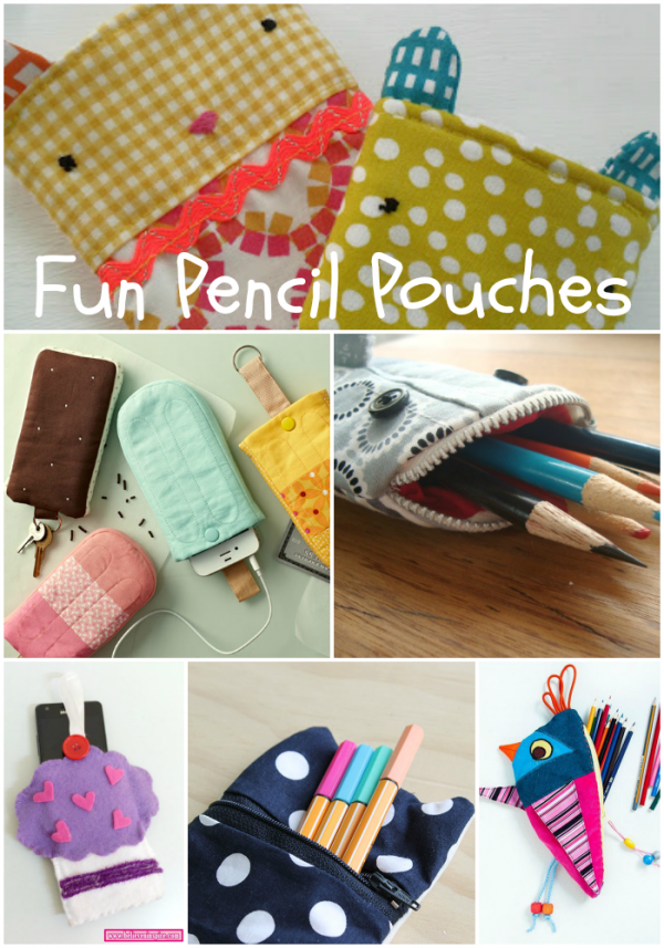 fun pencil pouches to sew for back to school - Fun plushie pencil cases