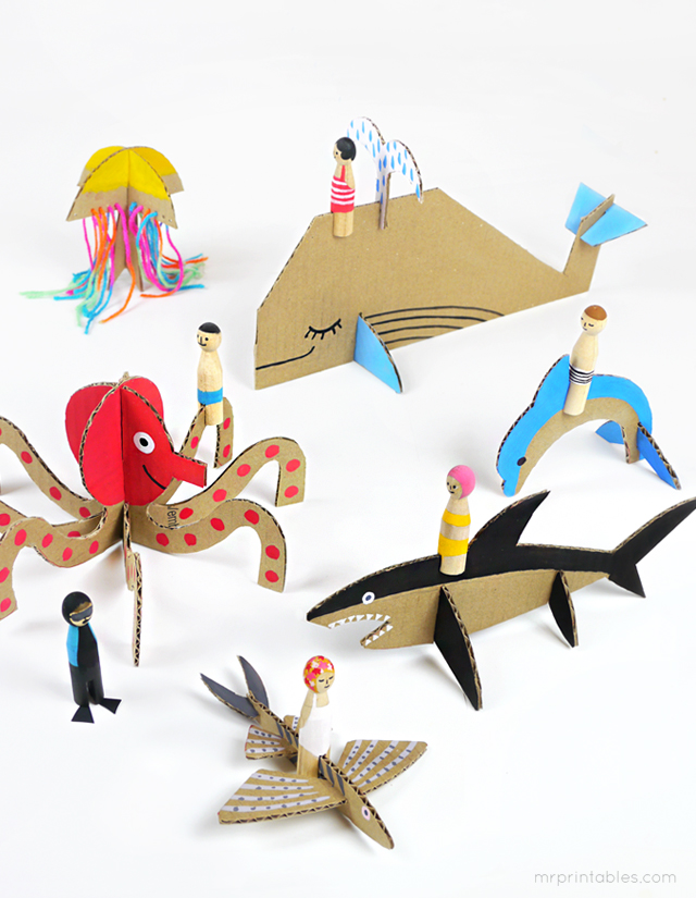 Peg Dolls & Cardboard Sea Creatures