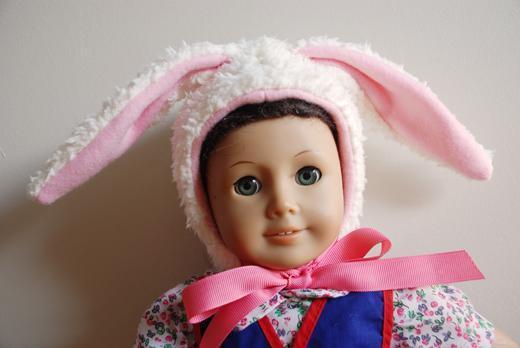 Bunny Doll Hat Made of Fleece