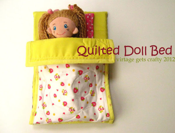 How to Make a Quilted Doll Bed. Use your scraps or cute fabric for a whole doll bedroom collection.  This is is a quick afternoon project and all dolls love them!