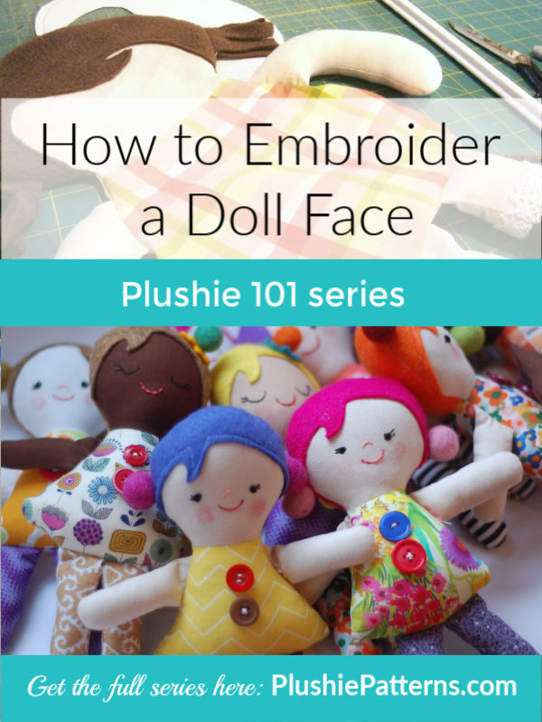 how to embroider a doll face - part of the plushie 101 series!